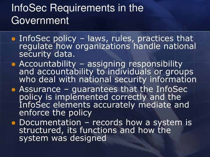 InfoSec Requirements in the Government