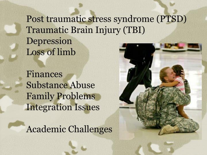 Post traumatic stress syndrome (PTSD)