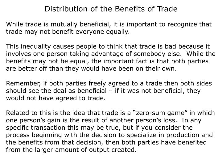 Distribution of the Benefits of Trade