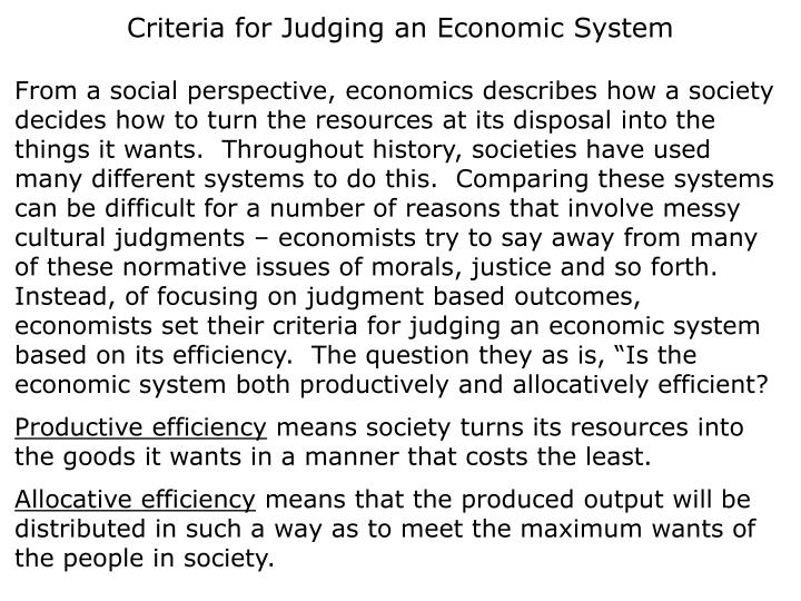 Criteria for Judging an Economic System