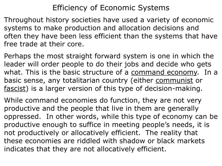 Efficiency of Economic Systems