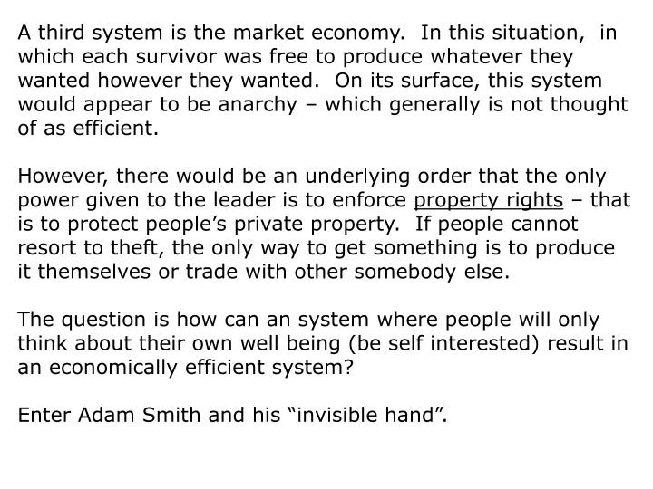 A third system is the market economy.  In this situation,  in which each survivor was free to produce whatever they wanted however they wanted.  On its surface, this system would appear to be anarchy – which generally is not thought of as efficient.