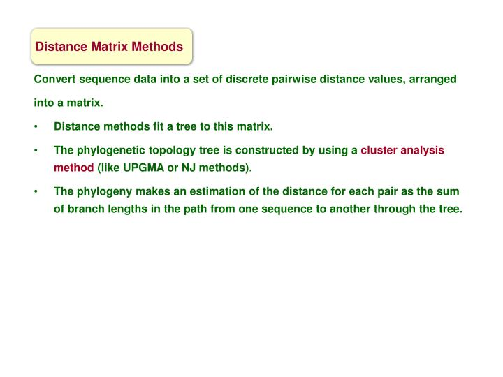 Distance Matrix Methods