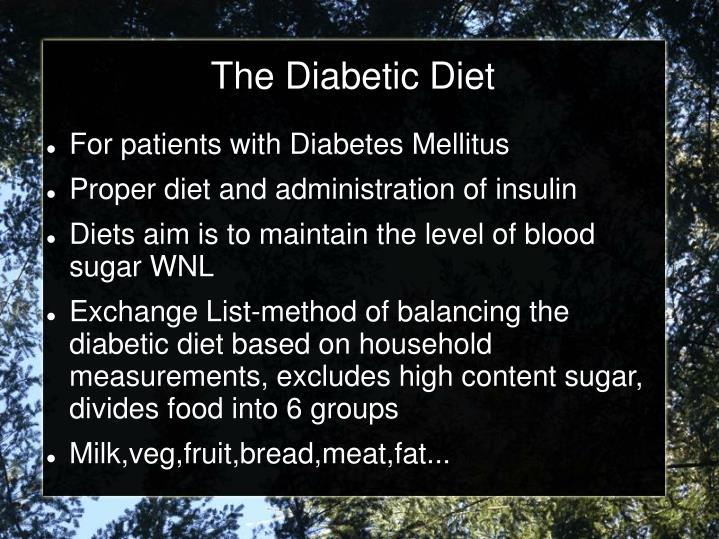The Diabetic Diet