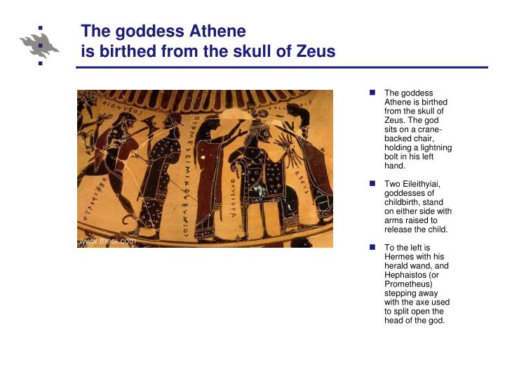 The goddess Athene is birthed from the skull of Zeus. The god sits on a crane-backed chair, holding a lightning bolt in his left hand.