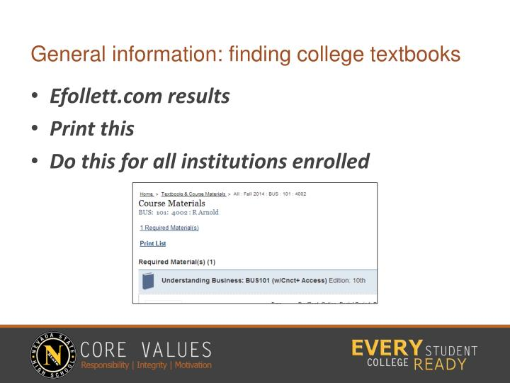 General information: finding college textbooks