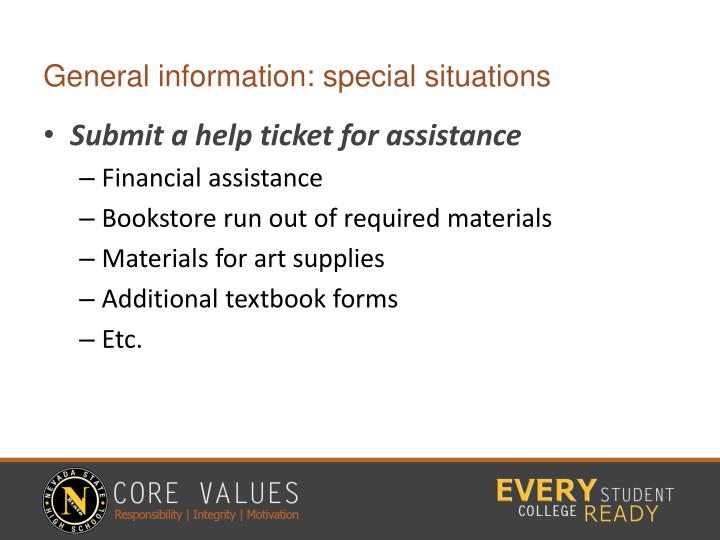 General information: special situations