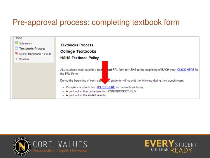 Pre-approval process: completing textbook form