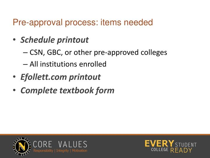Pre-approval process: items needed