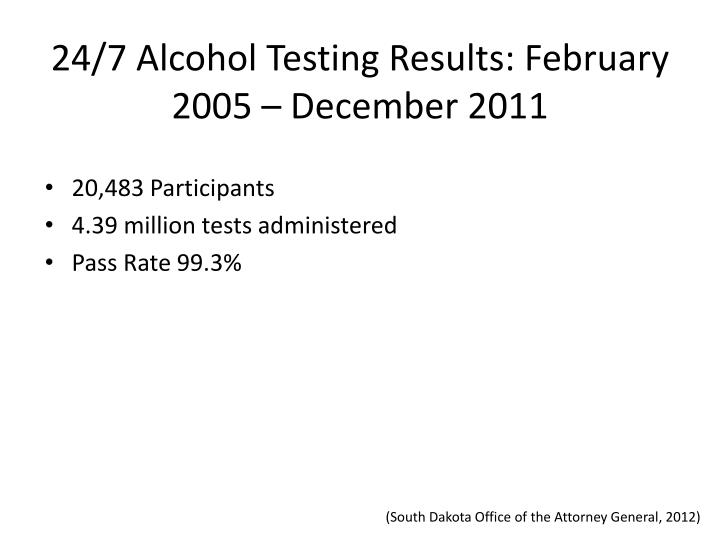 24/7 Alcohol Testing Results: February 2005 – December 2011