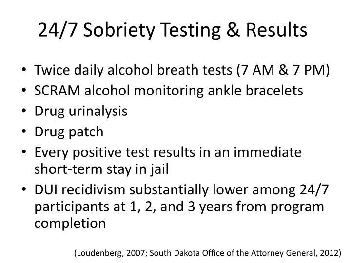 24/7 Sobriety Testing & Results