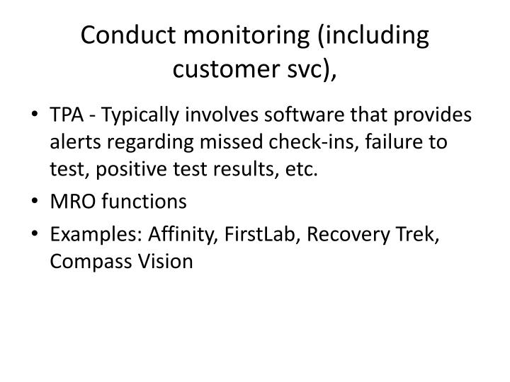 Conduct monitoring (including customer svc),