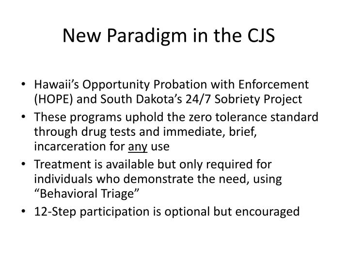 New Paradigm in the CJS