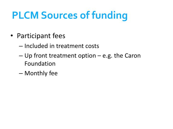 PLCM Sources of funding