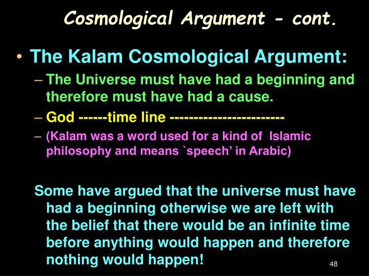 Cosmological Argument - cont.