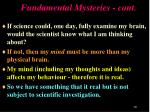 fundamental mysteries cont