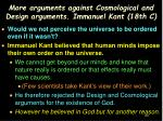more arguments against cosmological and design arguments immanuel kant 18th c