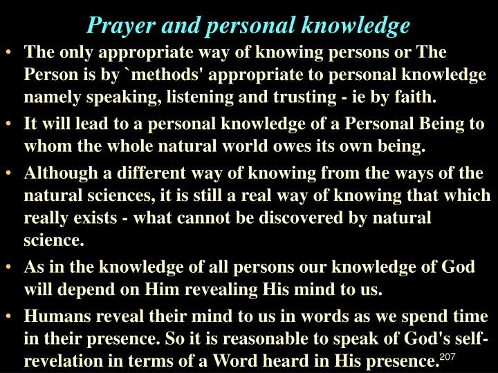 Prayer and personal knowledge