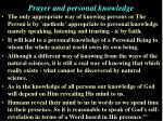 prayer and personal knowledge1