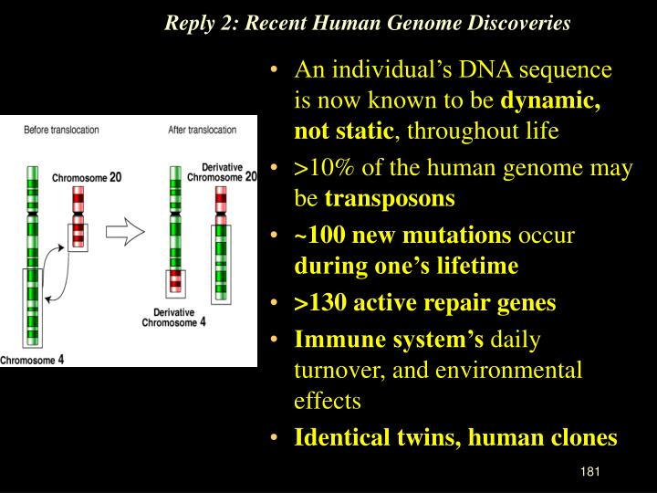 Reply 2: Recent Human Genome Discoveries