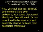 science first paradigm sfp example personal identity i nerve cells