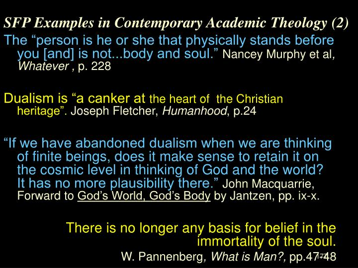 SFP Examples in Contemporary Academic Theology (2)