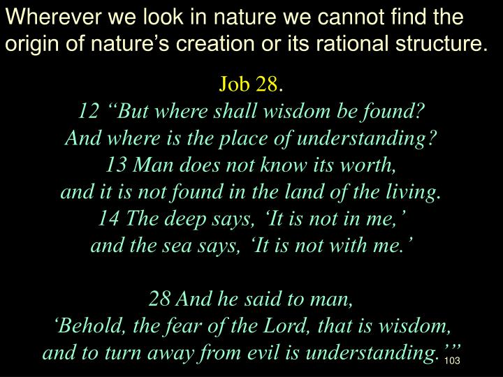 Wherever we look in nature we cannot find the origin of nature's creation or its rational structure.