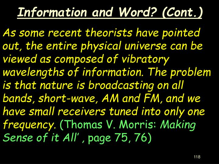 Information and Word? (Cont.)