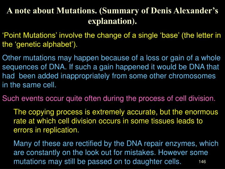 A note about Mutations. (Summary of Denis Alexander's explanation).