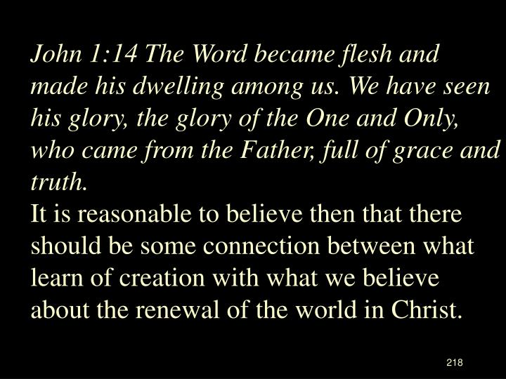 John 1:14 The Word became flesh and made his dwelling among us. We have seen his glory, the glory of the One and Only, who came from the Father, full of grace and truth.