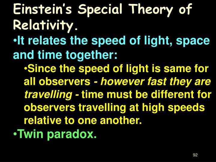 Einstein's Special Theory of Relativity.