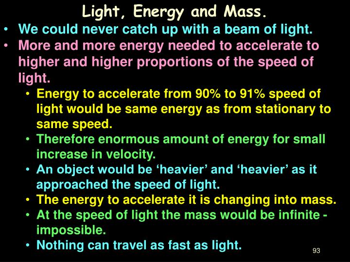 Light, Energy and Mass.