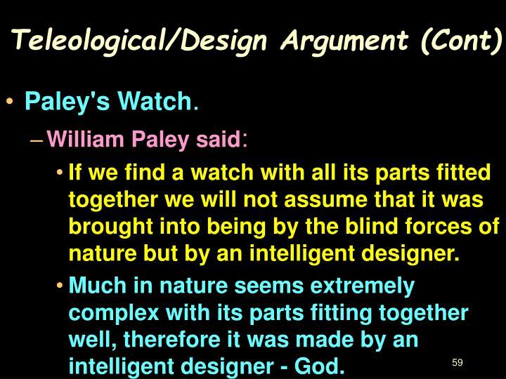 Teleological/Design Argument (Cont)