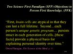 two science first paradigm sfp objections to person first knowledge pfk