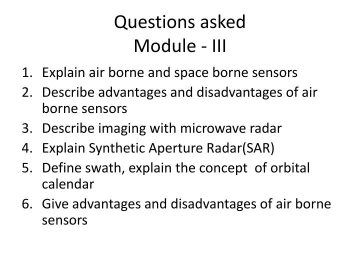 Questions asked module iii