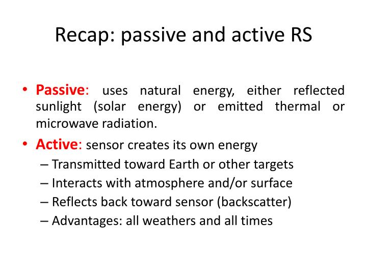 Recap: passive and active RS