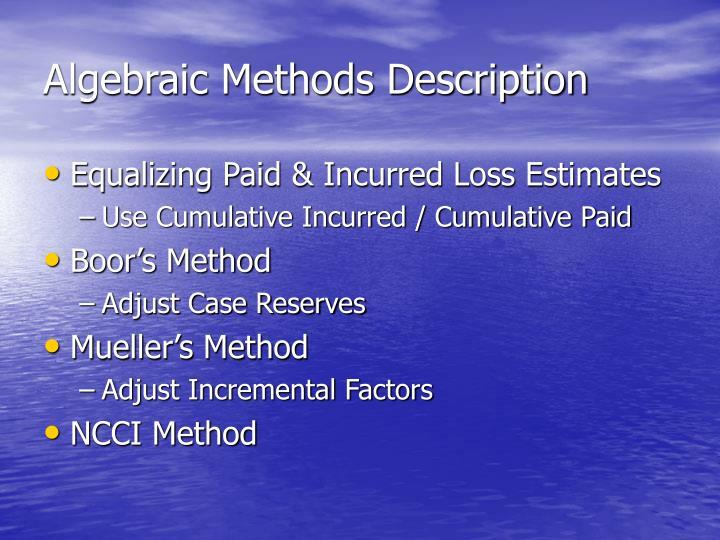 Algebraic Methods Description