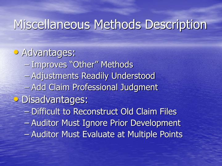 Miscellaneous Methods Description