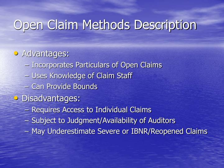 Open Claim Methods Description