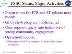 fssc status major activities