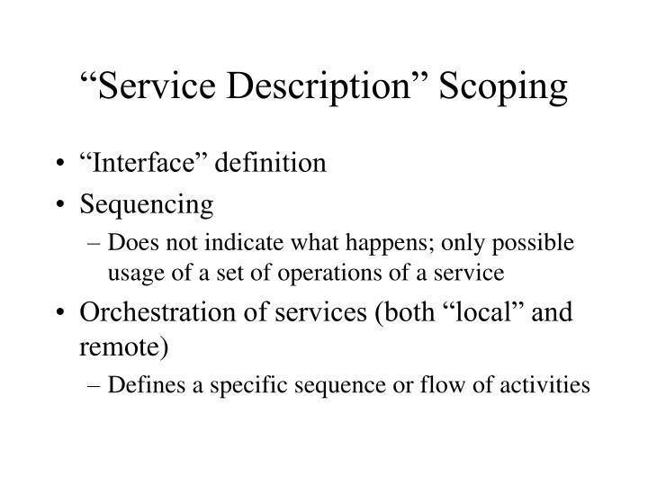 """Service Description"" Scoping"