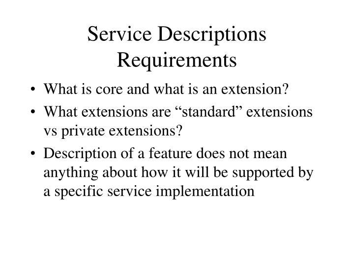 Service Descriptions Requirements