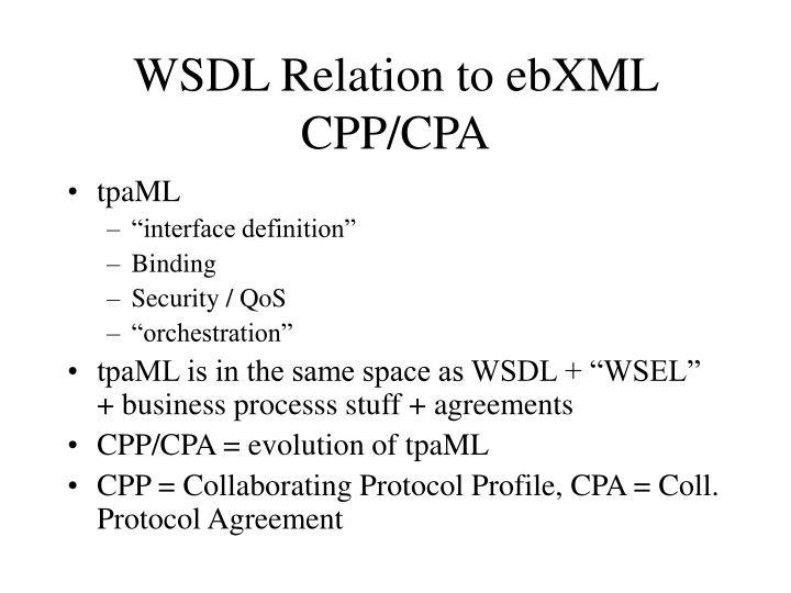 Wsdl relation to ebxml cpp cpa