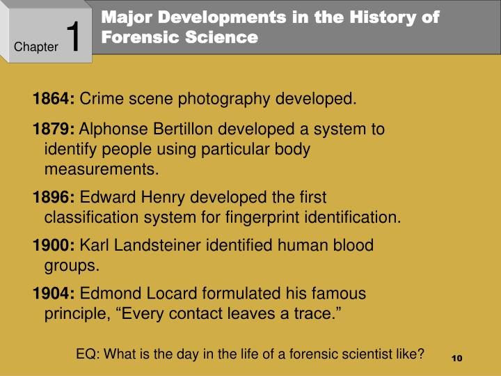 history of forensic science The forensic science timeline can also be found as an appendix in our recently published book principles and practice of forensic science: the profession of forensic.
