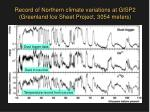 record of northern climate variations at gisp2 greenland ice sheet project 3054 meters