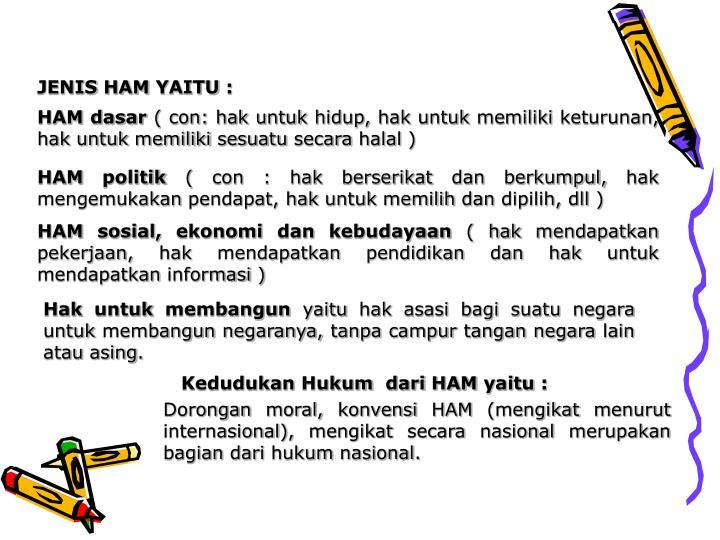 JENIS HAM YAITU :