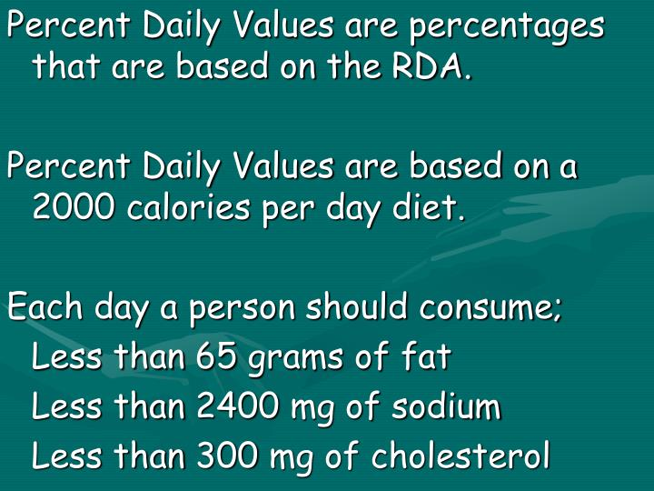 Percent Daily Values are percentages that are based on the RDA.