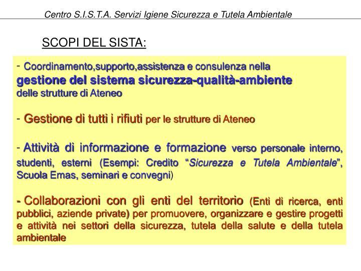 Centro S.I.S.T.A. Servizi Igiene Sicurezza e Tutela Ambientale