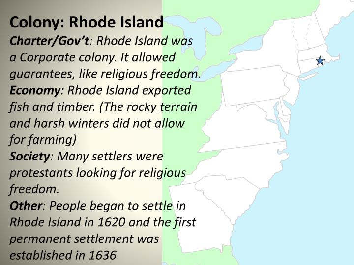 Colony: Rhode Island