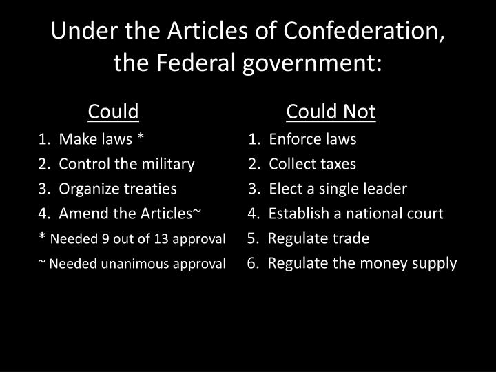 Under the Articles of Confederation, the Federal government: